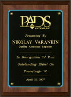 In Recognition of Your Outstanding Effort on PowerLogic 1.0, Apr 25, 1997